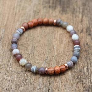 Calming Agate and Rosewood Bracelet Jewelry