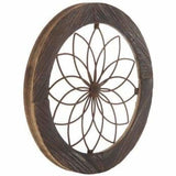 Chic Madallion Wood Wall Decor Brown Round Framed Flower Wood Wall Decor