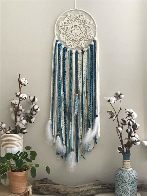 Custom Blue Bohemian Style Medium Dream Catcher - spirited-gypsy.myshopify.com