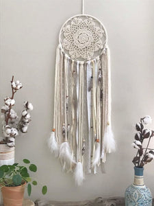 Custom Tan Bohemian Style Medium Dream Catcher - spirited-gypsy.myshopify.com