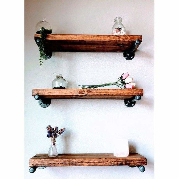 Handmade Rustic Floating Wood Pipe Shelf - spirited-gypsy.myshopify.com