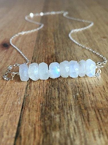 Moonstone Sterling Silver Bar Necklace or Bracelet Jewelry