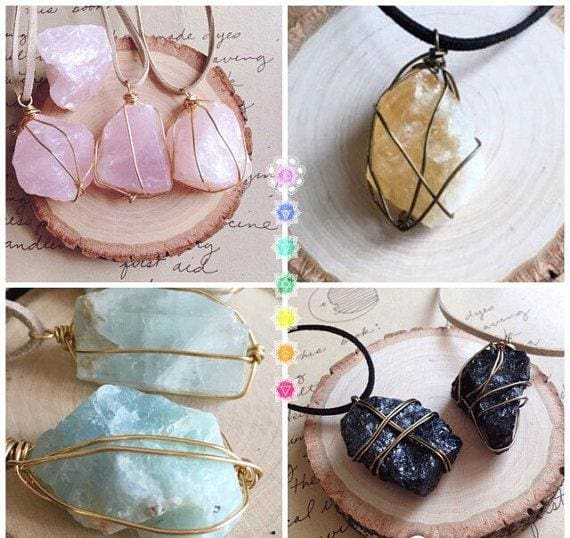 Raw Stone Necklace - spirited-gypsy.myshopify.com