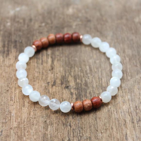 Spiritual Moonstone and Rosewood Bracelet Jewelry