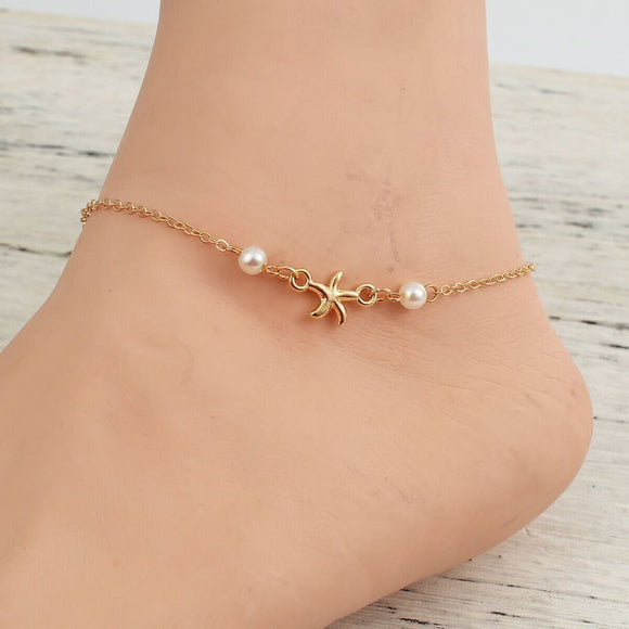 Starfish Faux Pearl Anklet Jewelry