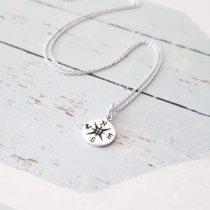 Sterling Silver Compass Necklace Jewelry
