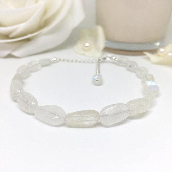 Stirling Silver Rainbow Moonstone Bracelet - spirited-gypsy.myshopify.com