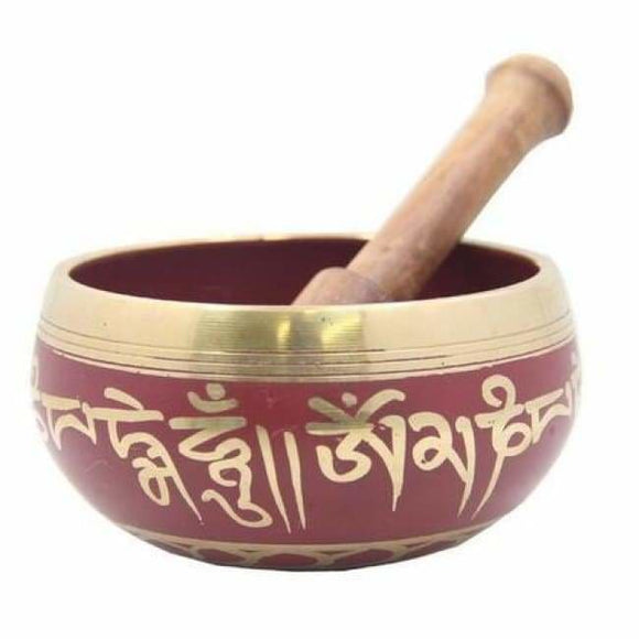 Tibetan Bronze Medicine Meditation OM Mani Padme Hum Peace Singing Bowl With Mallet Antique Garden Decoration Silver Brass - spirited-gypsy.myshopify.com