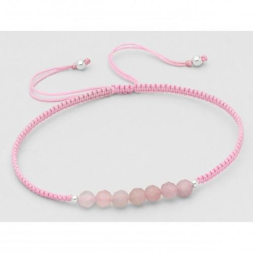 Rose Quartz Bali Beaded Stone Adjustable Bracelet - Pink