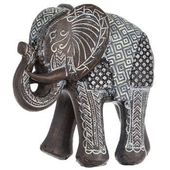 Tribal Carved Elephants Brown Patterned Elephant Home Decor