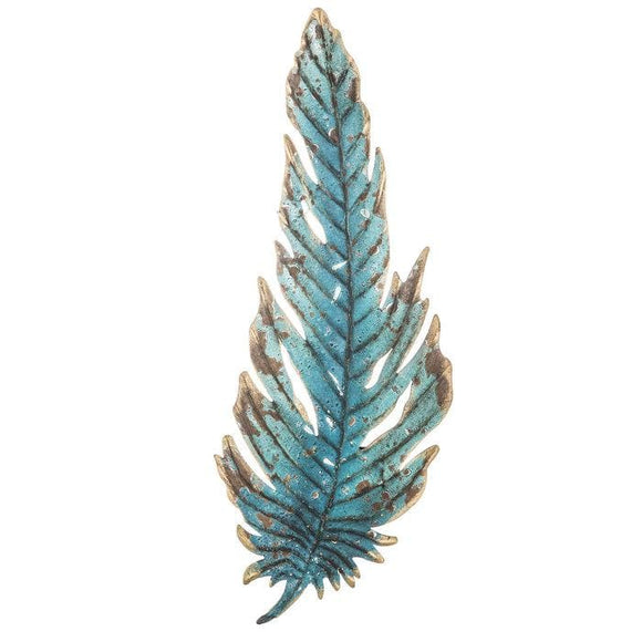 Turquoise Feather Metal Wall Decor - spirited-gypsy.myshopify.com