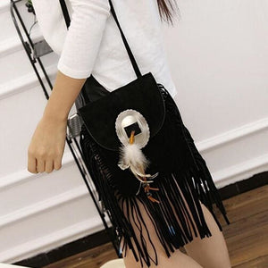 Xiniu women bag cross body vintage Suede women messenger bag small crossbody Tassels Phone Coin Bag #5M - spirited-gypsy.myshopify.com