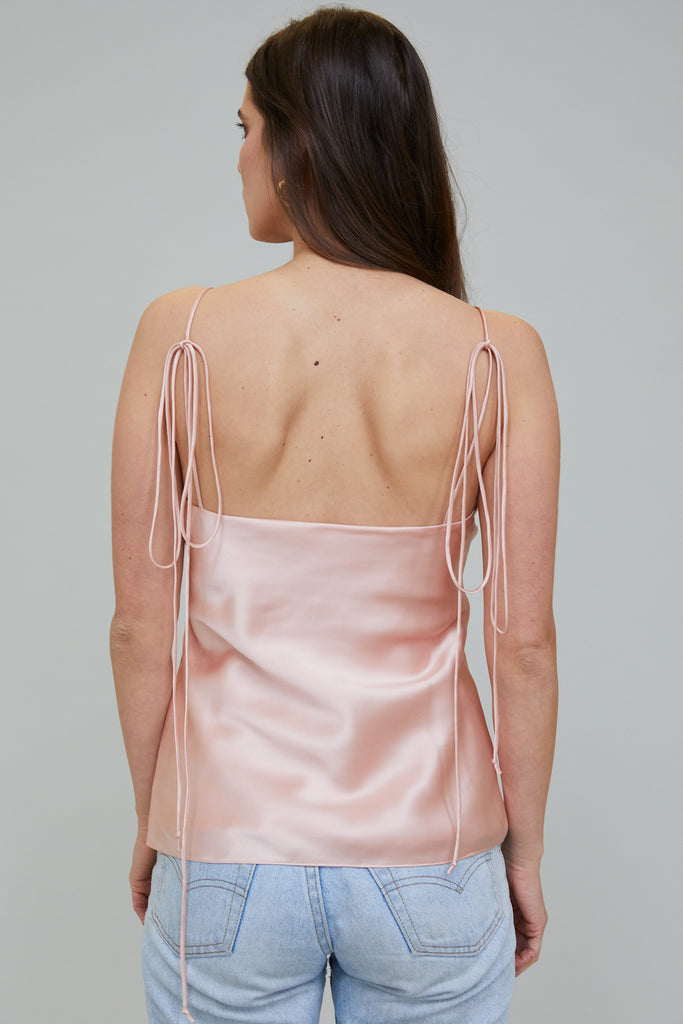 AZALEA SILK CHARMEUSE BLOUSE - ROSE