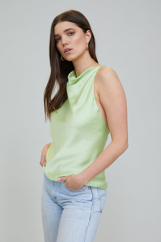 JASMINE SUEDED SILK BLOUSE - PISTACHIO