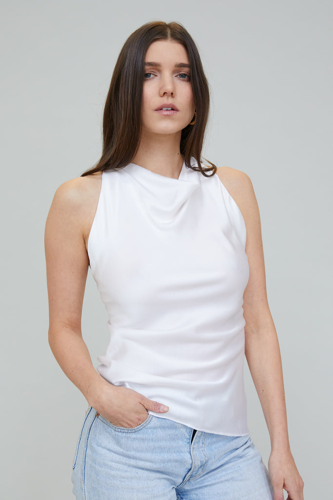 JASMINE SUEDED SILK BLOUSE - WHITE
