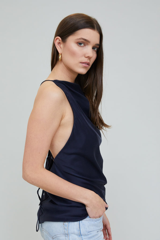 JASMINE SUEDED SILK BLOUSE - MIDNIGHT