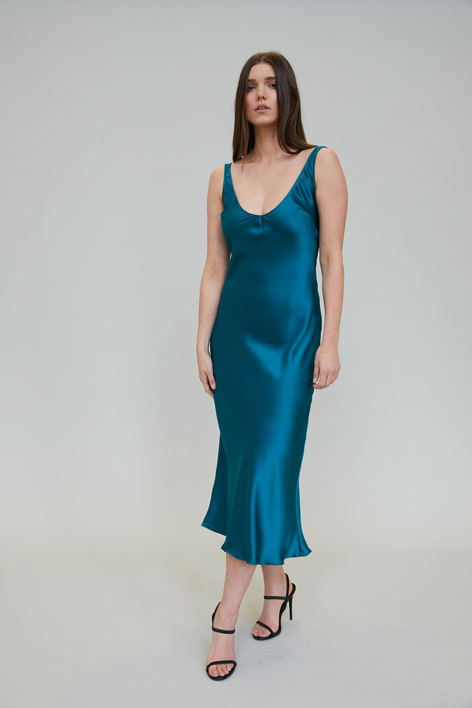 ESME SILK CHARMEUSE MIDI DRESS - OCEAN