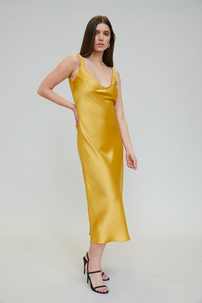 ESME SILK CHARMEUSE MIDI DRESS - MARIGOLD