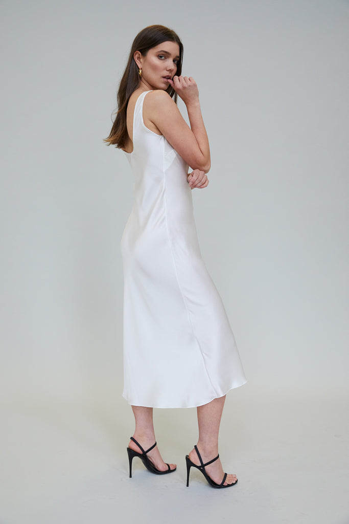 ESME SILK CHARMEUSE MIDI DRESS - IVORY