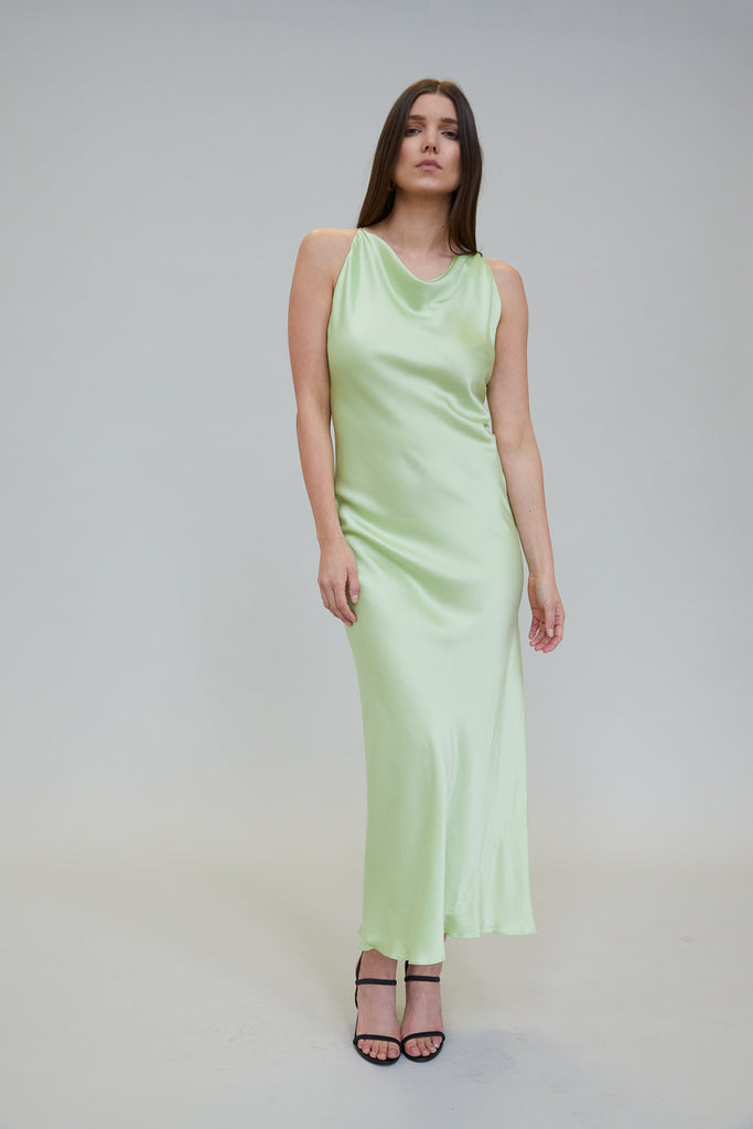JASMINE SUEDED SILK MIDI DRESS - PISTACHIO