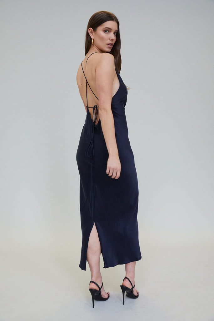 JASMINE SUEDED SILK MIDI DRESS - MIDNIGHT