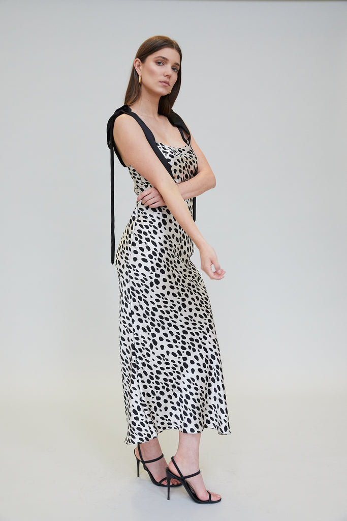 ULYANA SILK CHARMEUSE MIDI DRESS - LEOPARD PRINT