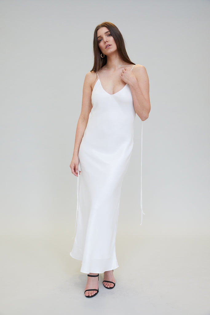 AZALEA METALLIC SILK MIDI DRESS - WHITE PEARL