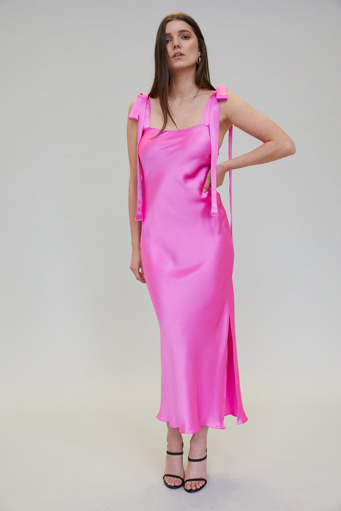 ULYANA SILK CHARMEUSE MIDI DRESS - ORCHID