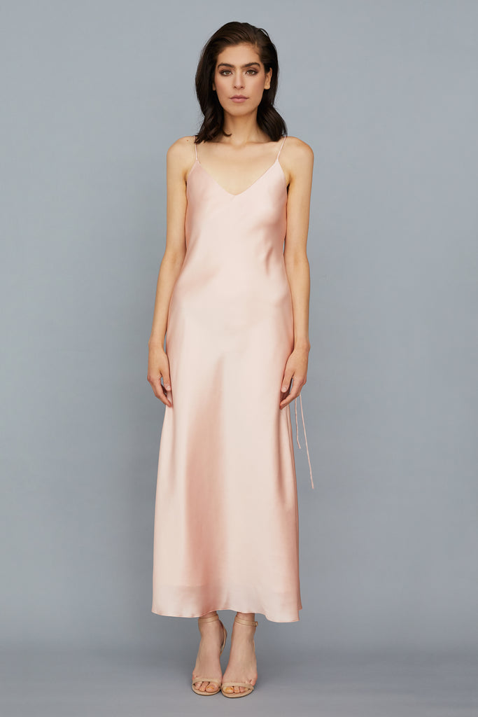 AZALEA SILK CHARMEUSE MIDI DRESS - ROSE