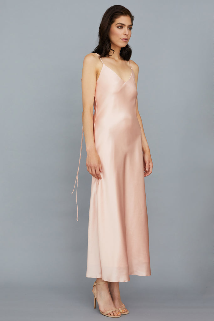 AZALEA DRESS - ROSE GOLD SILK CHARMEUSE