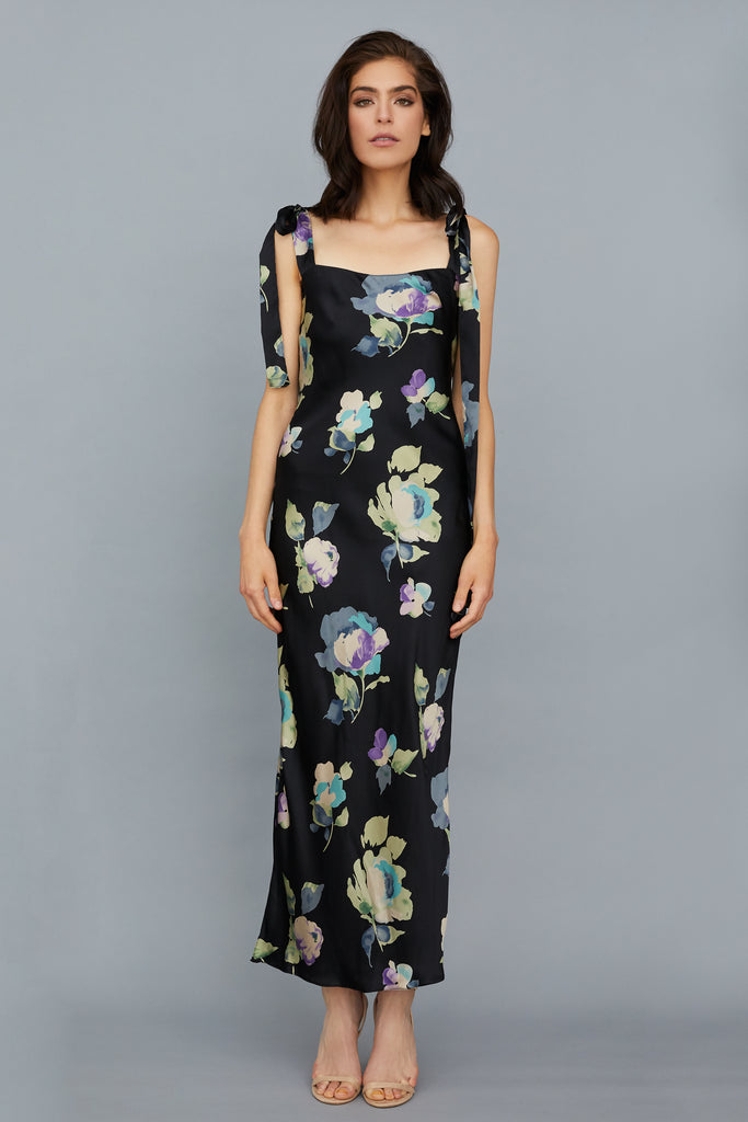 ULYANA DRESS - BLACK FLORAL SILK CHARMEUSE
