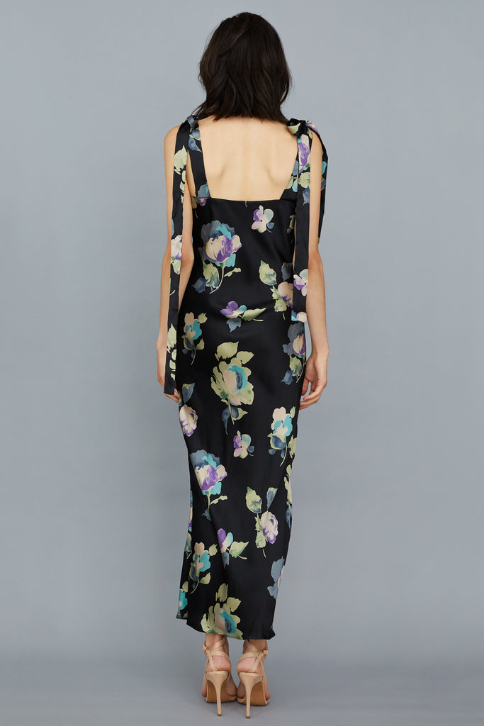 ULYANA SILK CHARMEUSE MIDI DRESS - BLACK FLORAL
