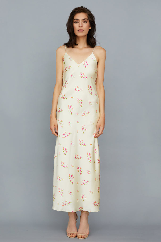 AZALEA SILK CHARMEUSE MIDI DRESS- FLORAL CREAM