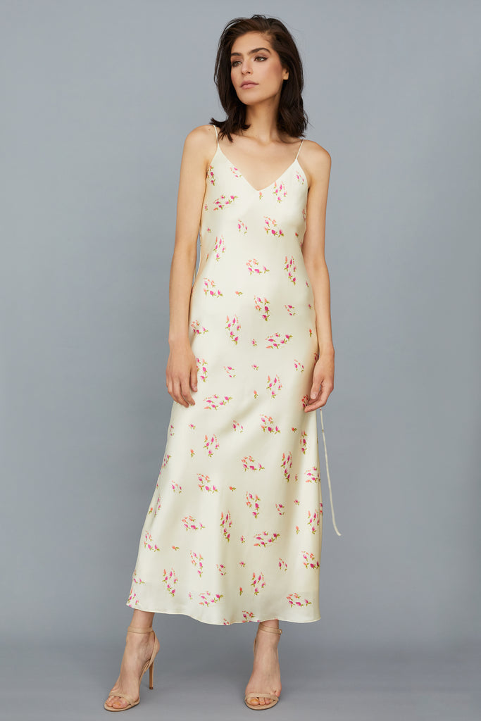 AZALEA DRESS - FLORAL IVORY SILK CHARMEUSE