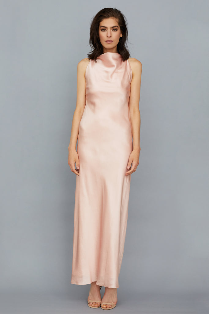JASMINE DRESS - ROSE GOLD SILK SATIN