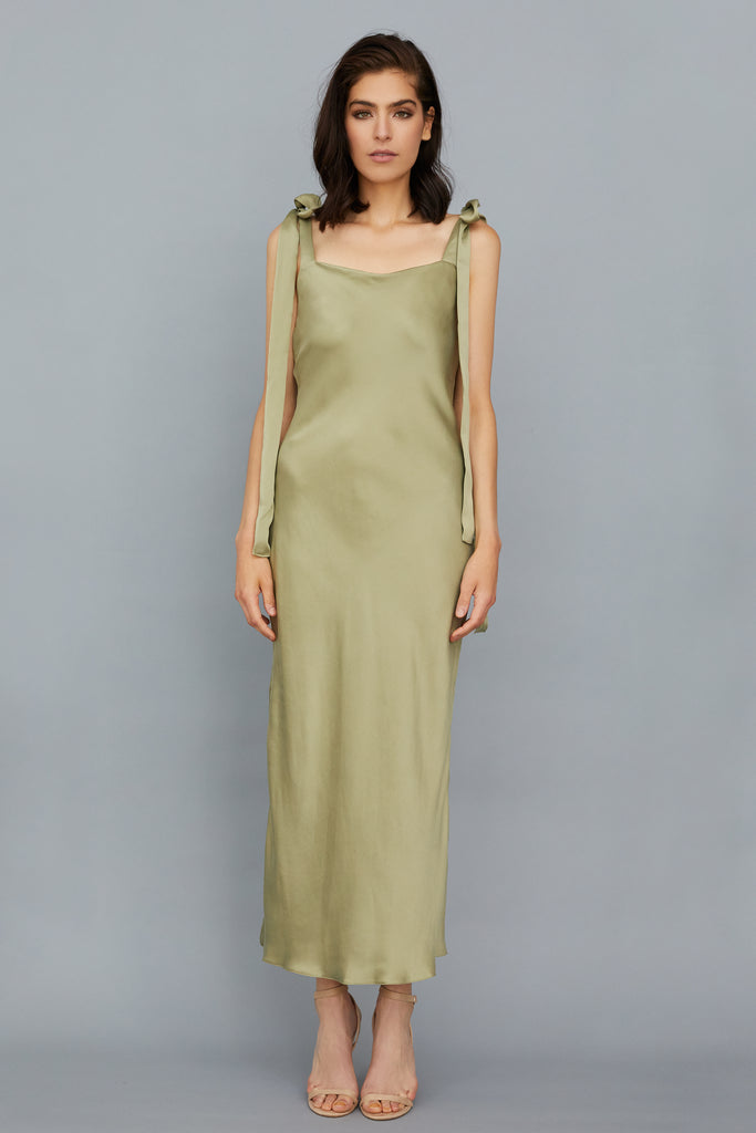 ULYANA SUEDED SILK MIDI DRESS - SAGE