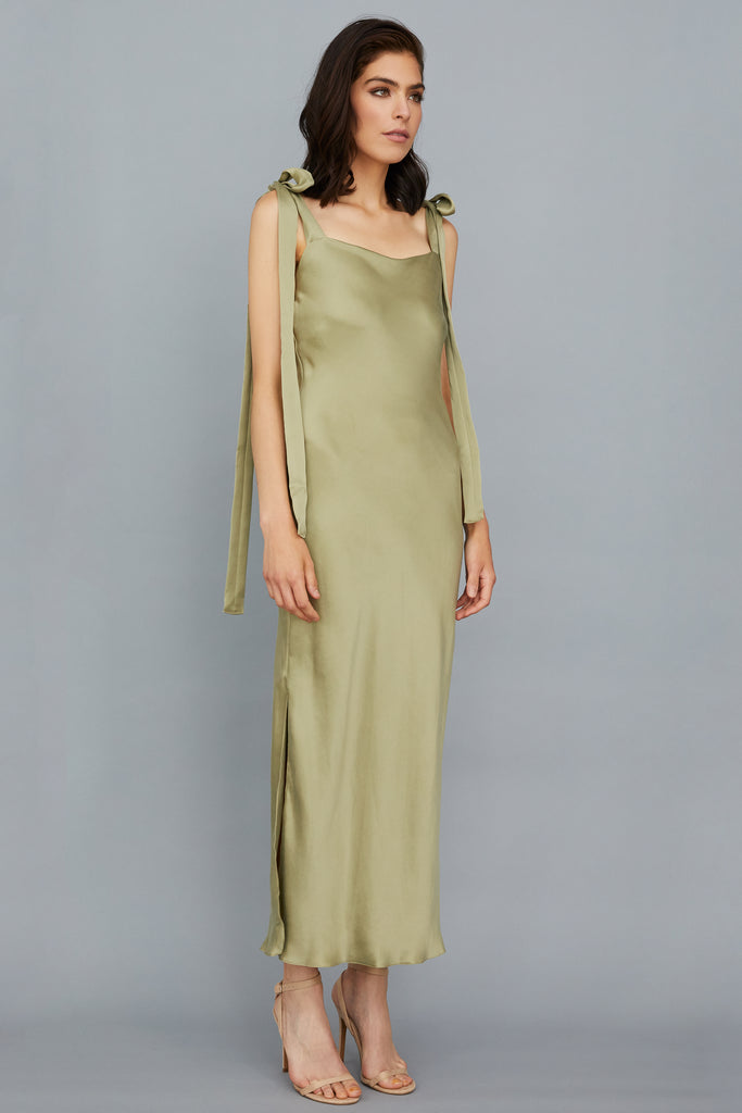 ULYANA DRESS - SAGE SUEDED SILK CREPE