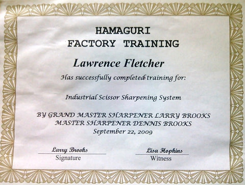 certification for shear, scissor, and clipper blade sharpening