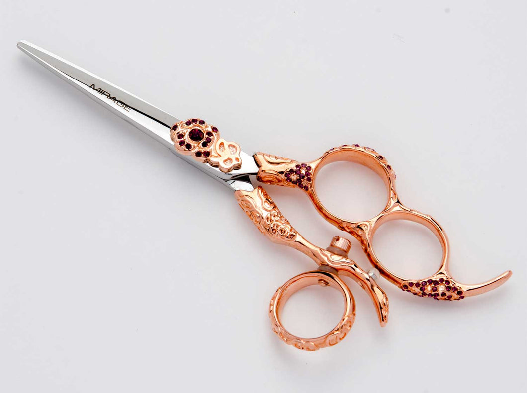 The Mirage Nirvana is a high quality shear for professional hairstylists. This pair of shears features a beautiful rose gold handle.