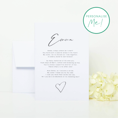 Sister, Will you be my Bridesmaid? Card