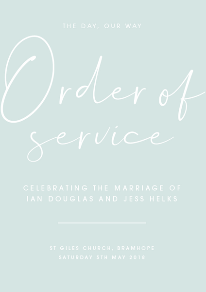Mint Personalised Order of Service