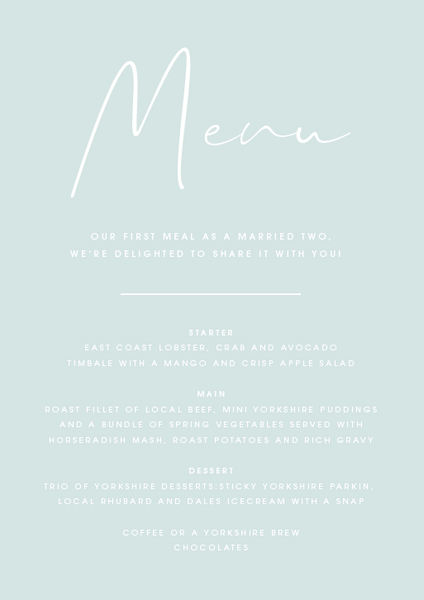 Mint Personalised Menu