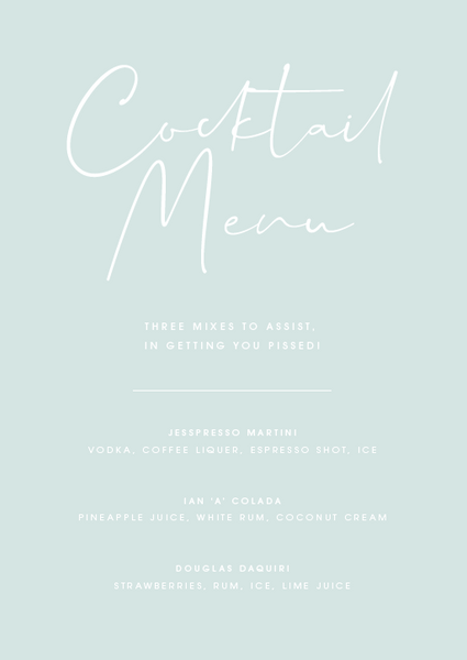 Mint Personalised Cocktail Menu