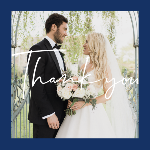 Navy Personalised Thank You Card