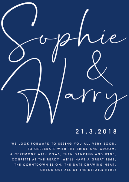 Navy Personalised Poetry Wedding Invitation