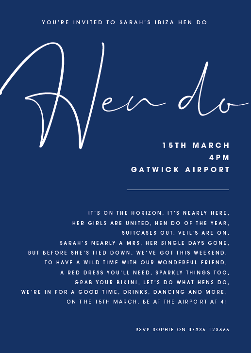 Navy Personalised Hen Do Poem