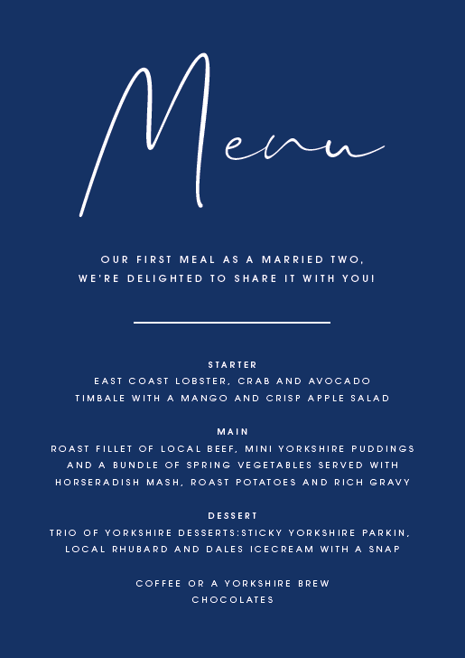 Navy Personalised Menu