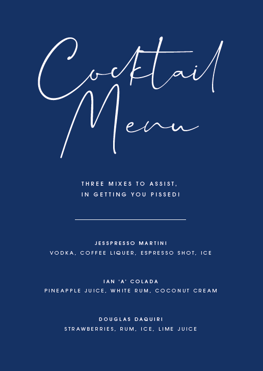 Navy Personalised Cocktail Menu