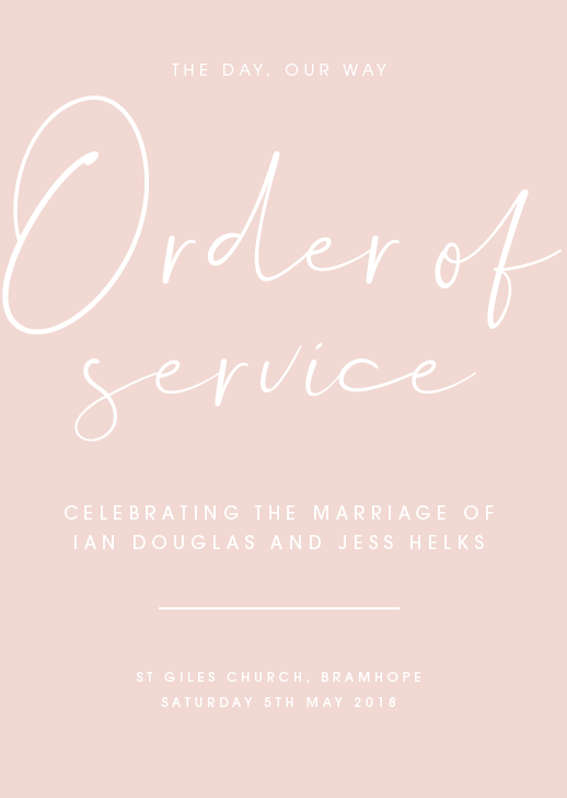 Pink Personalised Order of Service
