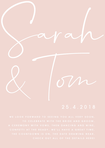 Pink Personalised Poetry Wedding Invitation